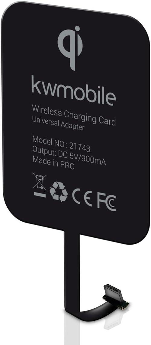 kwmobile Receptor de Carga inalámbrico Qi Micro USB Universal para móvil - Cargador inalámbrico para Puerto Micro USB de 5V para Smartphones
