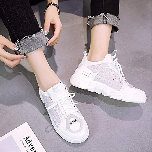 imitación Zapatos Gray Azul Flat Blanco Primavera Verano Sneakers de de Gris ZHZNVX Heel de de Cuero Mujer y Comfort xIdqUF1q