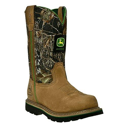John Deere Men's Western Work Wellington Camo Soft Toe Boot JD4148 (JD4148W10.5) Walnut Size 10.5W (John Deere Wellington Boots Mens)