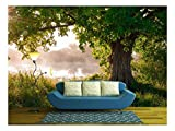 wall26 - Oak Tree in Full Leaf in Summer Standing Alone - Removable Wall Mural | Self-Adhesive Large Wallpaper - 100x144 inches
