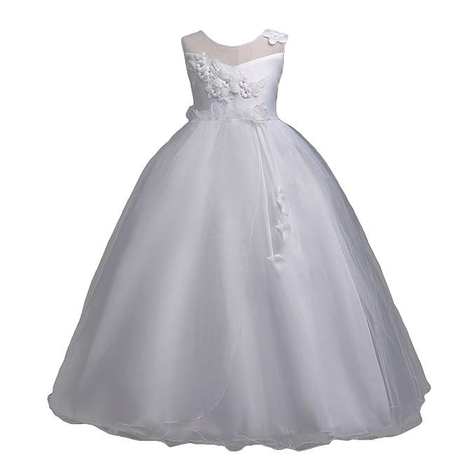 Highdas Girls Floral Wedding Party Cumpleaños Vestidos Chica Blanco 120CM