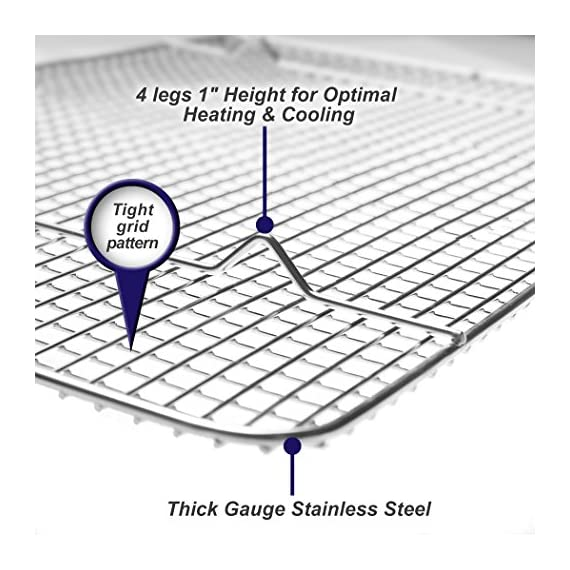 "KITCHENATICS Professional Grade Stainless Steel Cooling and Roasting Wire Rack Fits Half Sheet Baking Pan for Cookies, Cakes Oven-Safe for Cooking, Smoking, Grilling, Drying - Heavy Duty Rust-Proof 5 COMMERCIAL GRADE 304 (18/8) STAINLESS STEEL cooling rack, RUST RESISTANT, NONTOXIC and DISHWASHER_SAFE for long-lasting durability. SUPREME DURABILITY with 1-INCH (1"") IN HEIGHT for optimal airflow, allows air to circulate around all sides of the pan for absolutely perfect cooking and cooling. OVEN-SAFE to 575˚F for effective roasting, and best for grilling, baking, broiling, smoking, bbq and drying. There is no need to flip your food while cooking. You will get a crisp and juicy chicken, bacon, turkey, pulled pork, bbq ribs and other meat and vegetable dishes without any sweating."
