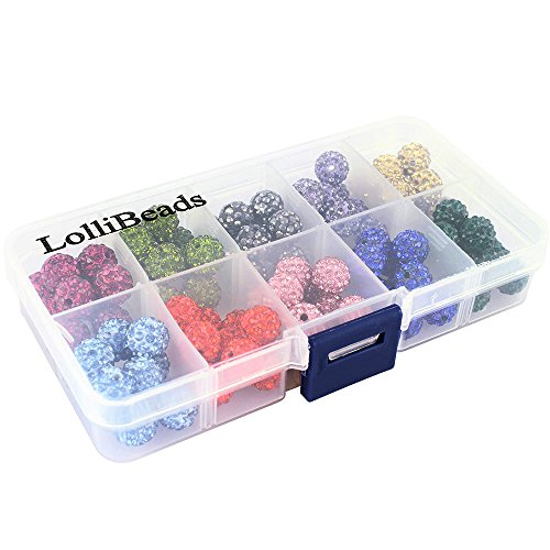 - LolliBeads-100pcs 10 Color Mix Lot Top Quality Crystal Rhinestones Pave Clay Spacer Ball Beads (10mm Box Set)
