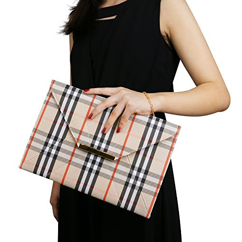 Women's Clutch Purse,Wedding Party Plaid Chain Strap Gold Purses Bags with Pocket Unique Elegant Simple Design Evening Bags Chain Crossbody Bags Beige