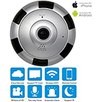 Panorama Wireless IP Camera, VRURC 960P HD Wifi Smart Camera 360 Degree Full View 1.44mm Fish Eye Wide-Angle Lens Panoramic Security Camera, Support IOS Android Smartphone APP Remote View (Sliver)