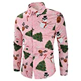 NUWFOR Men Casual Snowflakes Santa Candy Printed Christmas Shirt Top Blouse(Pink,US:S Chest33.8