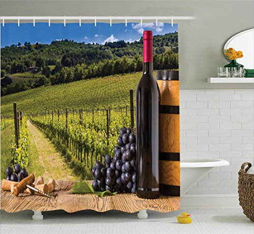 Winery Decor Shower Curtain Set By Ambesonne Red Wine Bottles With Grapes On Timber Board And Tuscany Italian Terrace Scenery Bathroom Accessories