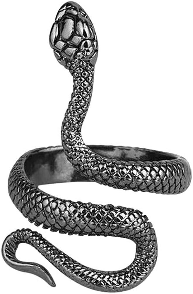 Bague ajustable serpent acier noir.