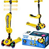 Scooter For Kids with Folding Seat – 2-in-1 Adjustable 3 Wheel Kick Scooter for Toddlers Girls & Boys – Fun Outdoor Toys for Kids Fitness, Outside Games, Kid Activities – Boy & Girl Toys (Yellow)