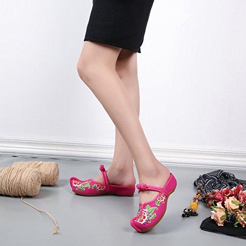 Rouge Broderie Compensé Fait Icegrey Femme 36 Sabots Pantoufles Pointé avec Wedge Nœud Plates Fleur Main SqqXOfU4
