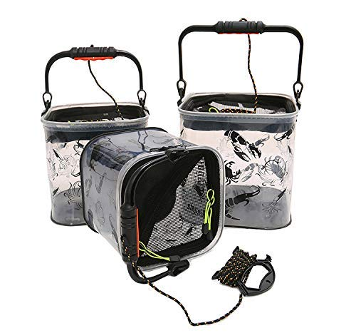 Easyinsmile Portable Collapsible Fishing Bucket Camping Water Storage Portable Wash Basin for Traveling Hiking Fishing Boating Gardening Water Container Pail with Lid and 5 Meters Rope (Clear) by Easyinsmile