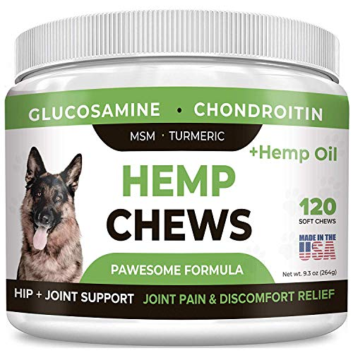 Pawesome Hemp + Glucosamine for Dogs - Hip & Joint Supplement - w/Hemp Oil + Protein - Chondroitin, MSM, Turmeric to Improve Mobility & Energy - Natural Joint Pain Relief, 120 Soft Chews