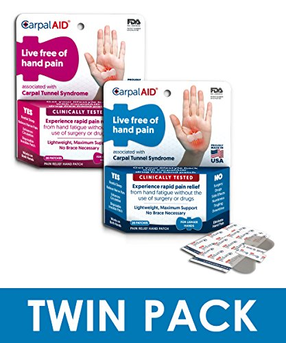 CarpalAid Carpal Tunnel Syndrome Pain Relief Hand Patch (Dual Size Bundle Pack, 20 Large, 20 Small) by Carpal Aid