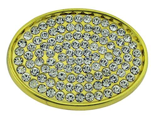 Bling Belt Buckle Gold (Oval Shape Belt Buckle Girly Women Ladies Rhinestone Crystals Bling Gold Finish)