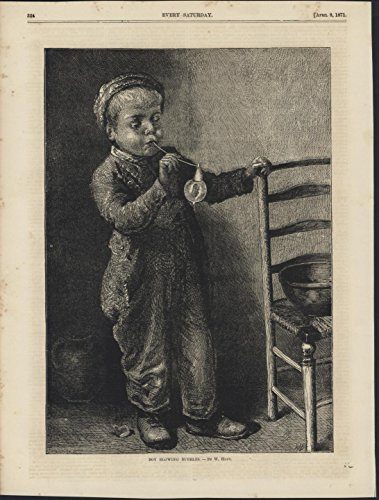 - Little Boy Blowing Bubbles 1871 antique wood engraved print