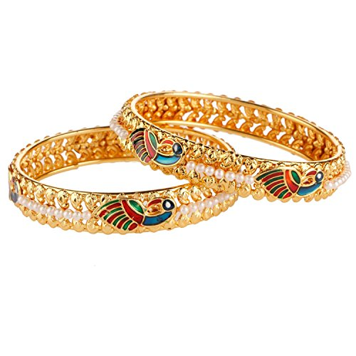 Efulgenz Fashion Jewelry Indian Bollywood 14 K Gold Plated Faux Pearl Peacock Inspired Bracelets Bangle Set (2 Pieces) For Women