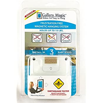 Gallery Magic Earthquake Pack - Withstands a 7.5 Magnitude Earthquake - Adjustable Magnetic Picture Hanging Hardware Kit - No Hooks, Wires, Measuring or Multiple Holes