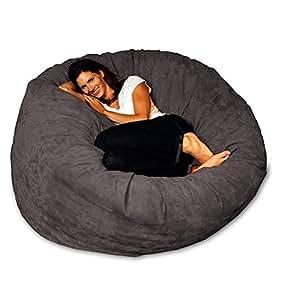 Chill Sack Bean Bag Chair: Giant 5' Memory Foam Furniture Bean Bag - Big Sofa with Soft Micro Fiber Cover - Charcoal