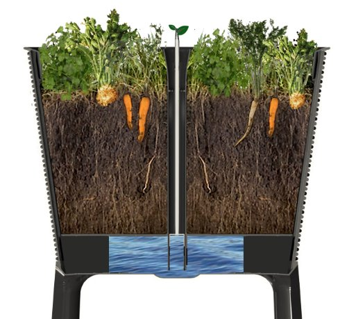 Keter Elevated Garden Bed 4 Dimensions: 44. 9 in. W x 19. 4 in. D x 29. 8 in. H Easy to read water gauge indicates when plants need additional moisture Drainage system that can be opened or closed for full control of watering