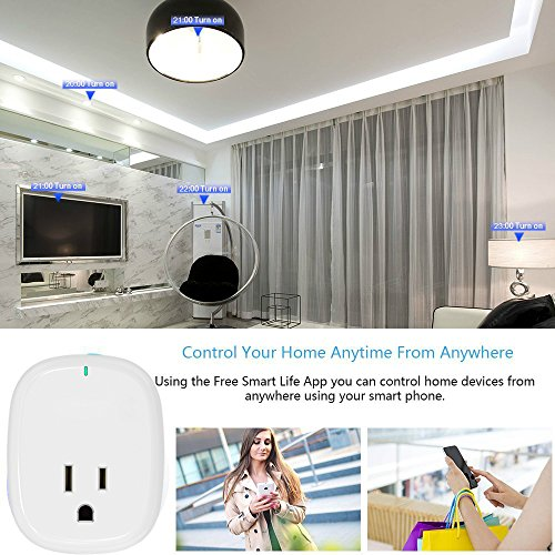 Smart Plug 2 Pack, Control Your Electric Devices Anytime and Anywhere, Timer Outlet with USB Port, No Hub Required, Compatible with Alexa & Google Assistant [UL & FCC Certificated] by Loneyshow (Image #2)
