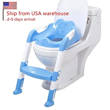 6797bbb4a4067 CARESHIN Potty Seat with Ladder Cover Toilet Folding Chair Kid Potty Toilet  Seat with Step Stool Ladder (Blue)
