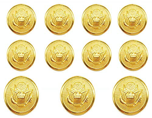 YCEE 11 Pieces Gold Metal Blazer Button Set - Eagle Badge - For Blazer, Suits, Sport Coat, Uniform, Jacket (Gold)
