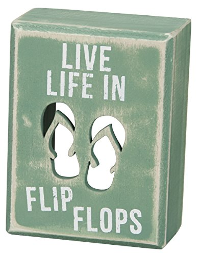 Primitives by Kathy Beach House Décor Box Sign, 3 x 4-Inches, flip Flops ()