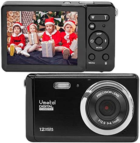 "Compact Digital Camera, Vmotal 2.8"" LCD 12MP Rechargeable Digital Camera with 8X Digital Zoom Auto Flash 1080P Video Camera for Kids Teenagers Gifts (Black)"