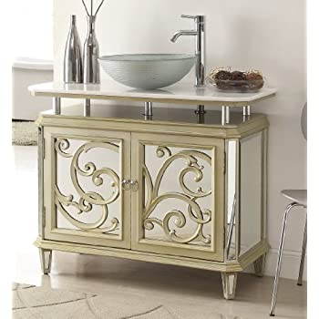 double vessel sink vanity base 30 inch cabinet height this item champagne gold color mirrored reflection