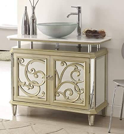 385 Champagne Gold Color Mirrored Reflection Idella Vessel Sink Vanity HFZ250