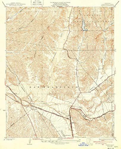 (YellowMaps Saugus CA topo map, 1:24000 Scale, 7.5 X 7.5 Minute, Historical, 1933, Updated 1939, 20.7 x 16.9 in -)