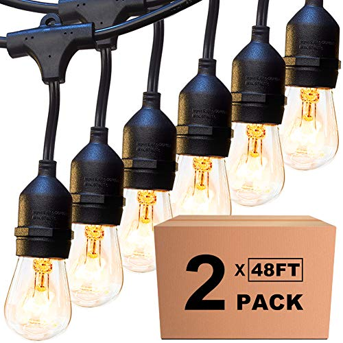 2 Pack 48ft Outdoor String Lights with 15