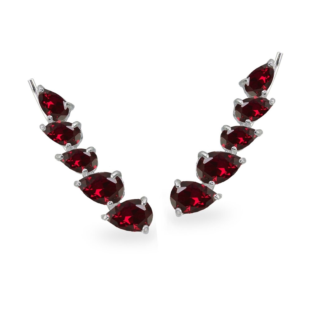 Sterling Silver Created Ruby Teardrop Curved Climber Crawler Earrings