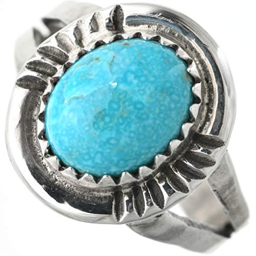 Natural Kingman Turquoise Silver Ring Ladies Single Nugget 0073