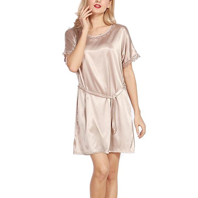 Pijama Mujer Verano Sexy Escote Redondo, Ropa de Dormir Imitación de Seda, Manga Corta: Amazon.es: Ropa y accesorios