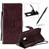 Wallet Case for Galaxy J2 Core,Strap Flip Case for Galaxy J2 Core,Herzzer Retro Elegant [Brown Mandala Flower Pattern] Stand Magnetic Leather Case with Soft TPU