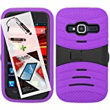 zte concord ii case - T-Mobile ZTE Concord II Case ZTE Z730 3 in 1 Bundle UCASE Cover w/ Kickstand and Screen Installed Snap On Skin Cover Hard Case - Purple (Free Ultra-Sensitive Stylus Pen and Premium Screen Protector by BeautyCentral TM)