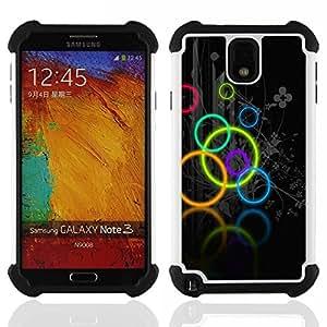 BullDog Case - FOR/Samsung Galaxy Note3 N9000 N9008V N9009 / - / Neon Olympic Circles Pattern /- H??brido Heavy Duty caja del tel??fono protector din??mico - silicona suave