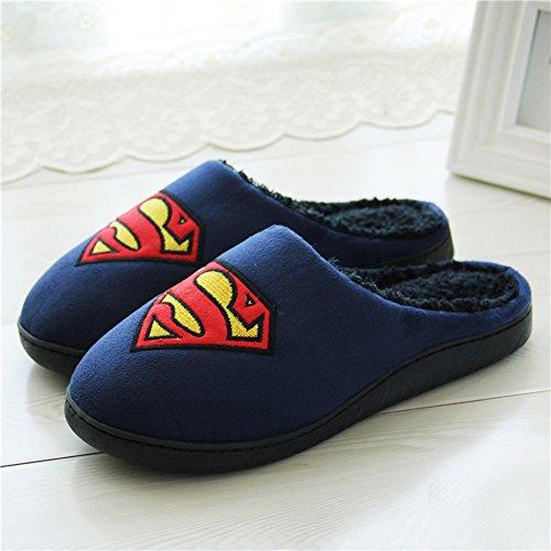 Winter Warm Mannen Vrouwen Indoor Schoen Koppels Liefhebbers Huis Superman Pantoffels Blauwe Kleur