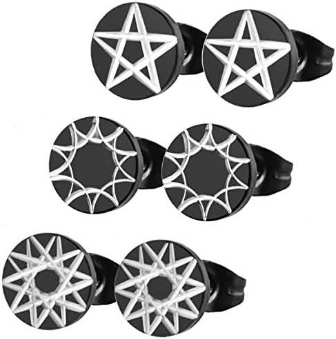 Assorted Stainless Steel Mens Womens Star Flower Pattern Black Round Stud Earrings, Hypoallergenic