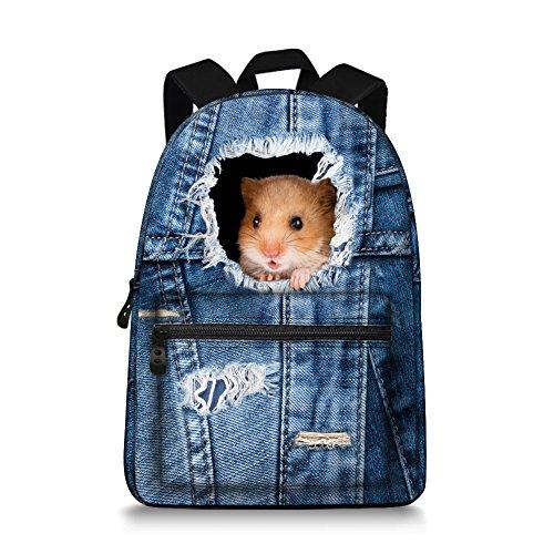 15 inch Cute Denim Cat Dog Canvas Casual Laptop Backpack School Backpack Rucksack