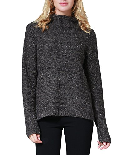Rocorose Women's High-low Marled Boucle Mock Neck Sweater Jumpers Gray L