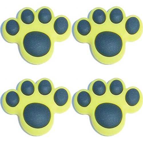 Paw Shoe Charm - Four (4) of Yellow Paw Shoe Rubber Charms Jibbitz Croc Style