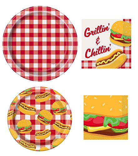 (Unique Burger BBQ Picnic Party Supplies Bundle | Paper Plates and)