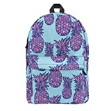 3D Printing Purple Pineapple Blue Background Students Shoulder Bag Backpack Hiking Sports Traveling and School-Multicolored
