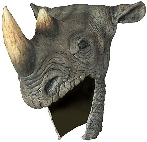 Rhino Head Helmet Adult Latex Grey Rhinoceros Hat Warrior Costume Accessory