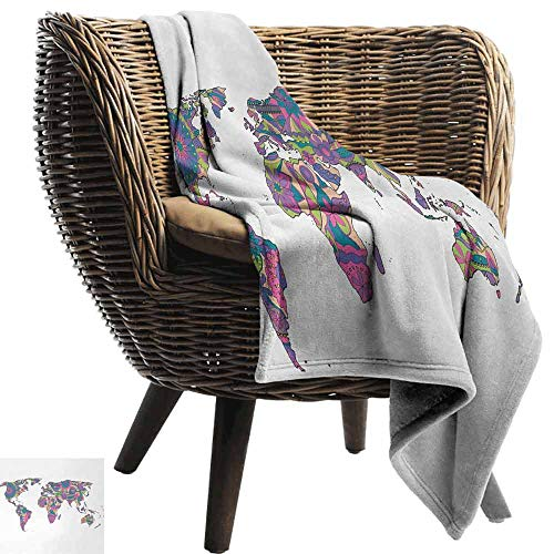 Wanderlust Fashion Throw Blanket,Colorful World Map with Flowers Blossoms Floral Art Educational Super Soft Plush Blanket for Chair Fall Winter Spring(80