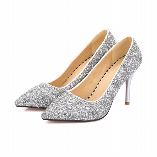 Charm Dress Fashion Sequins High Pumps Heel Silvery Foot Womens TxqrYfwFT