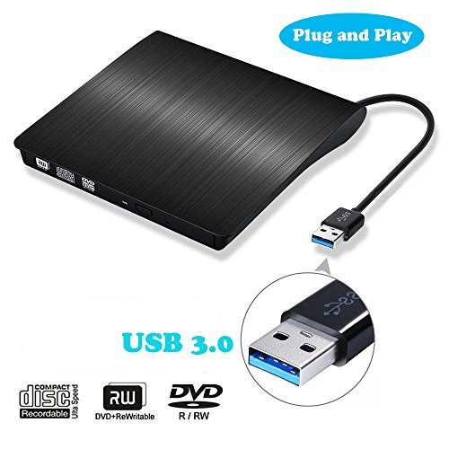 External CD Drive, Invin USB 3.0 Ultra Slim Portable High Speed Optical CD DVD RW DVD ROM Drive Writer Burner for Laptop Notebook PC Desktop Computer Support Windows/Vista/7/8.1/10, Mac OSX (Black) ...