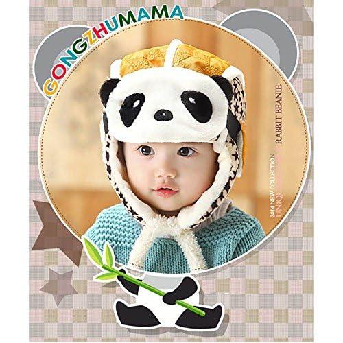 HuntGold Enfants Beau Panda Casquette Chaud Velours Hiver Aviateur Masque  Chapeau pour Bébé Jaune 9f3081cc56b